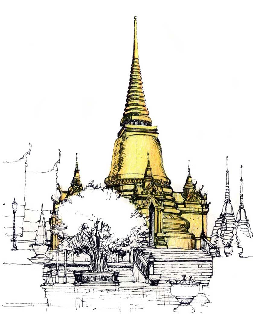 Grand Palace Chedi, Bangkok, Thailand.  Felt-tip pen and colored pencil.