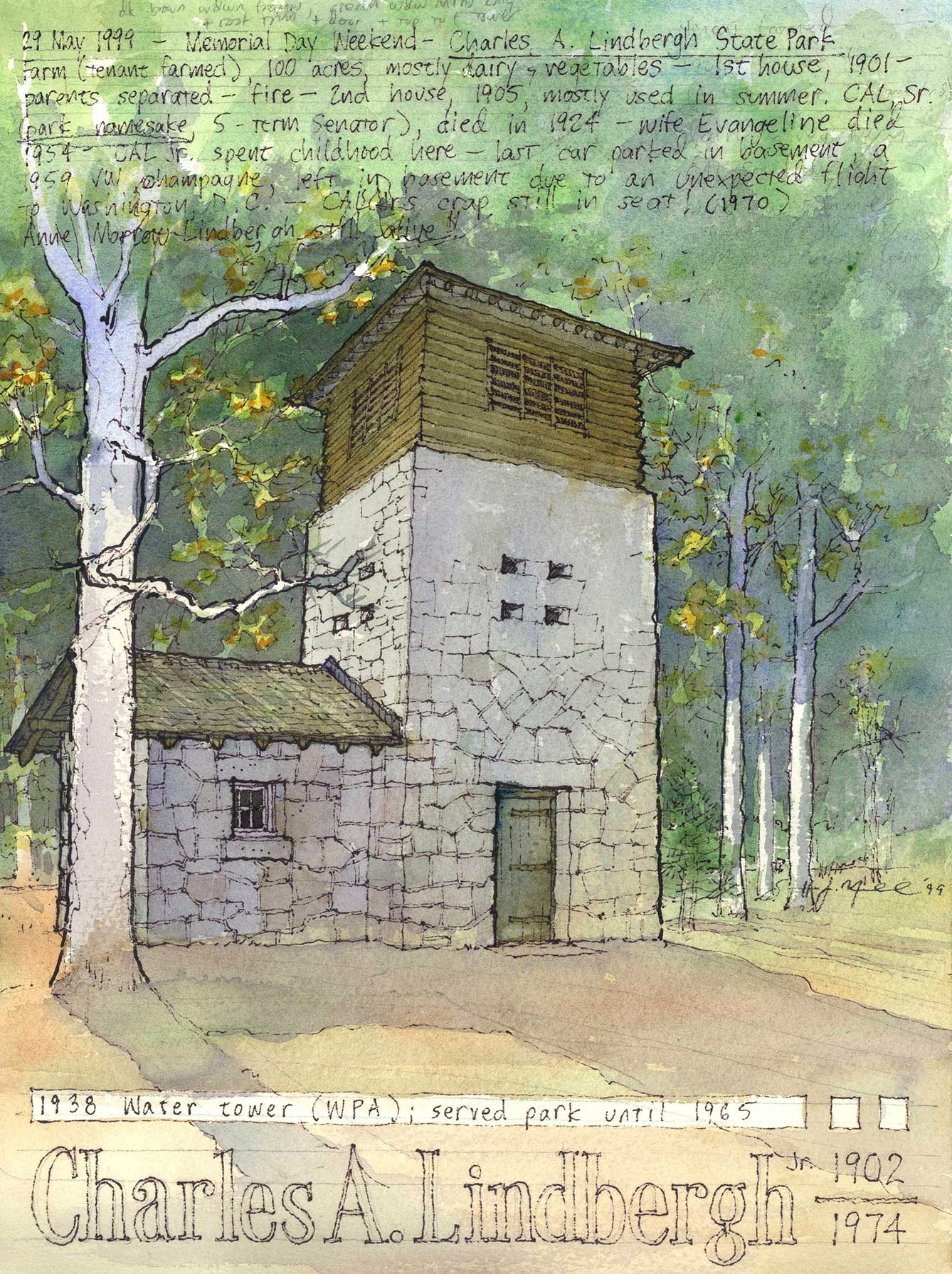 Charles A. Lindberg State Park water tower, Little Falls, Minnesota.  Pen and watercolor.
