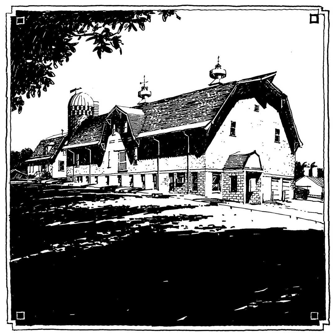 Historic Barn, U of M St. Paul Campus.  Felt-tip pen.