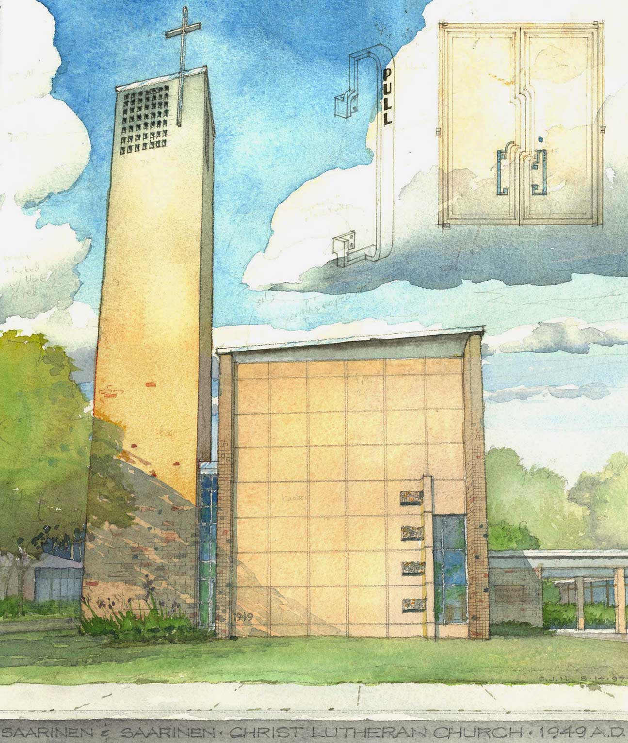 Christ Lutheran Church, Minneapolis.  Pencil and watercolor.