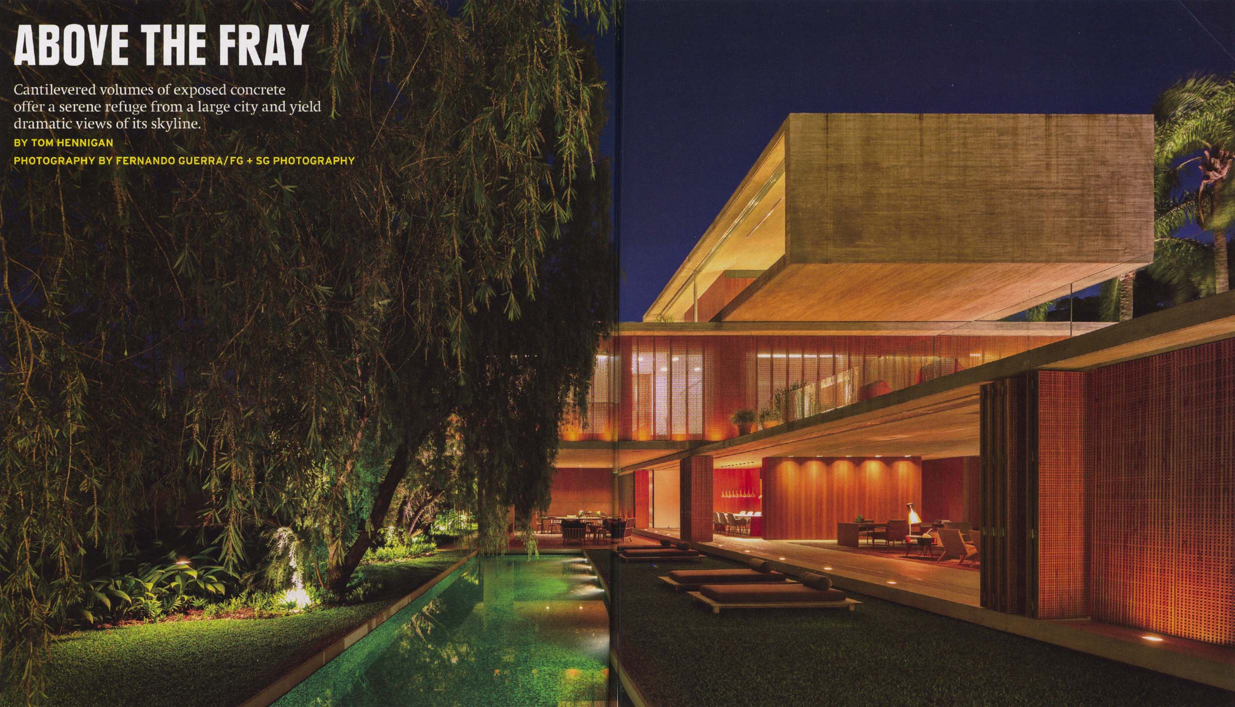 """Architectural Record, April 2014, pages 82-83, """"Casa P"""" house by Studio MK27. Completed July 2012. Cost: withheld."""