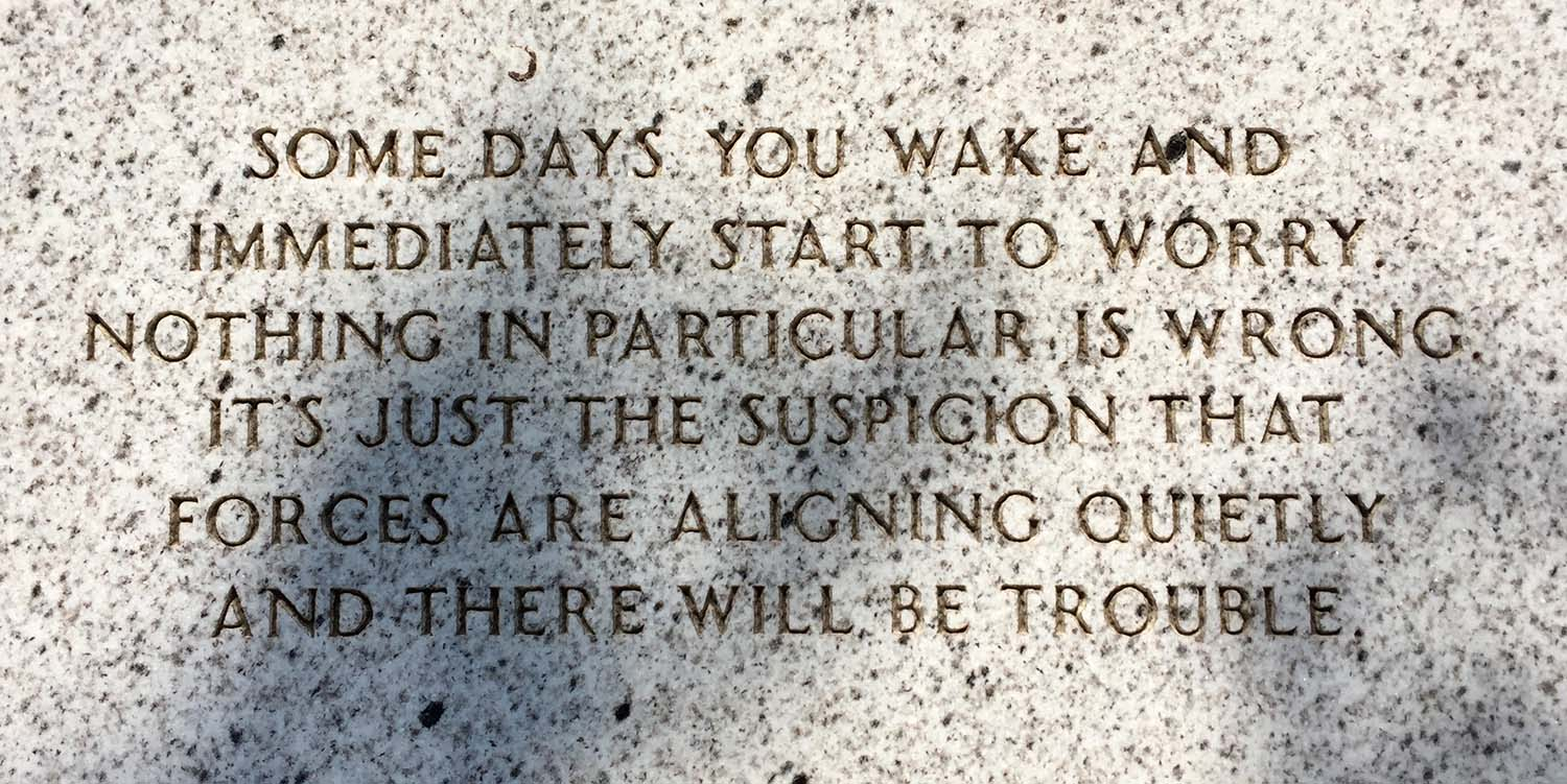 "From Jenny Holzer's ""The Living Series"", 1989.  Photo taken at Saturday's reopening of the Walker Art Center Sculpture Garden.  Much of last week was like this for me."