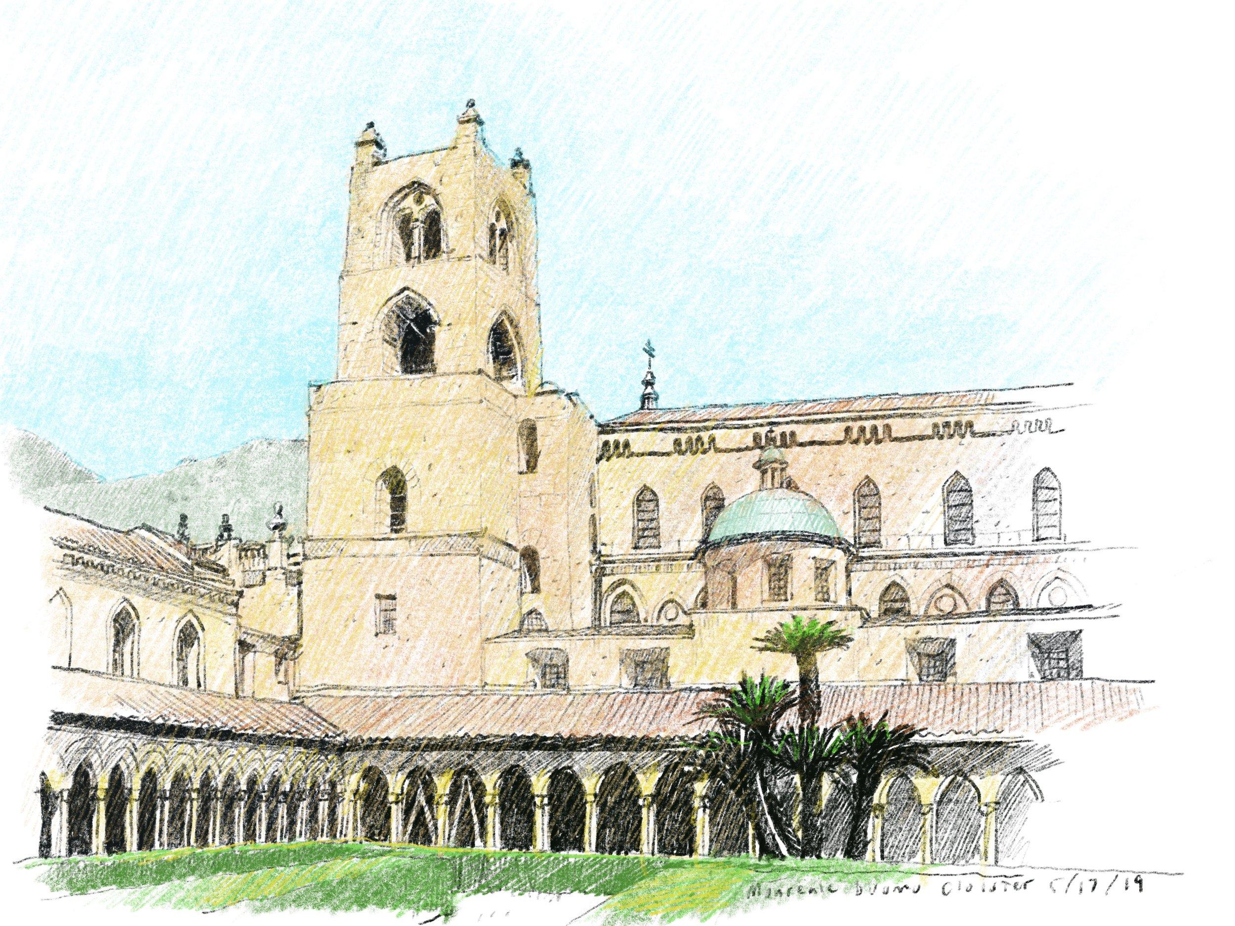Duomo di Monreale, Sicily.  Procreate software on an iPad Pro.