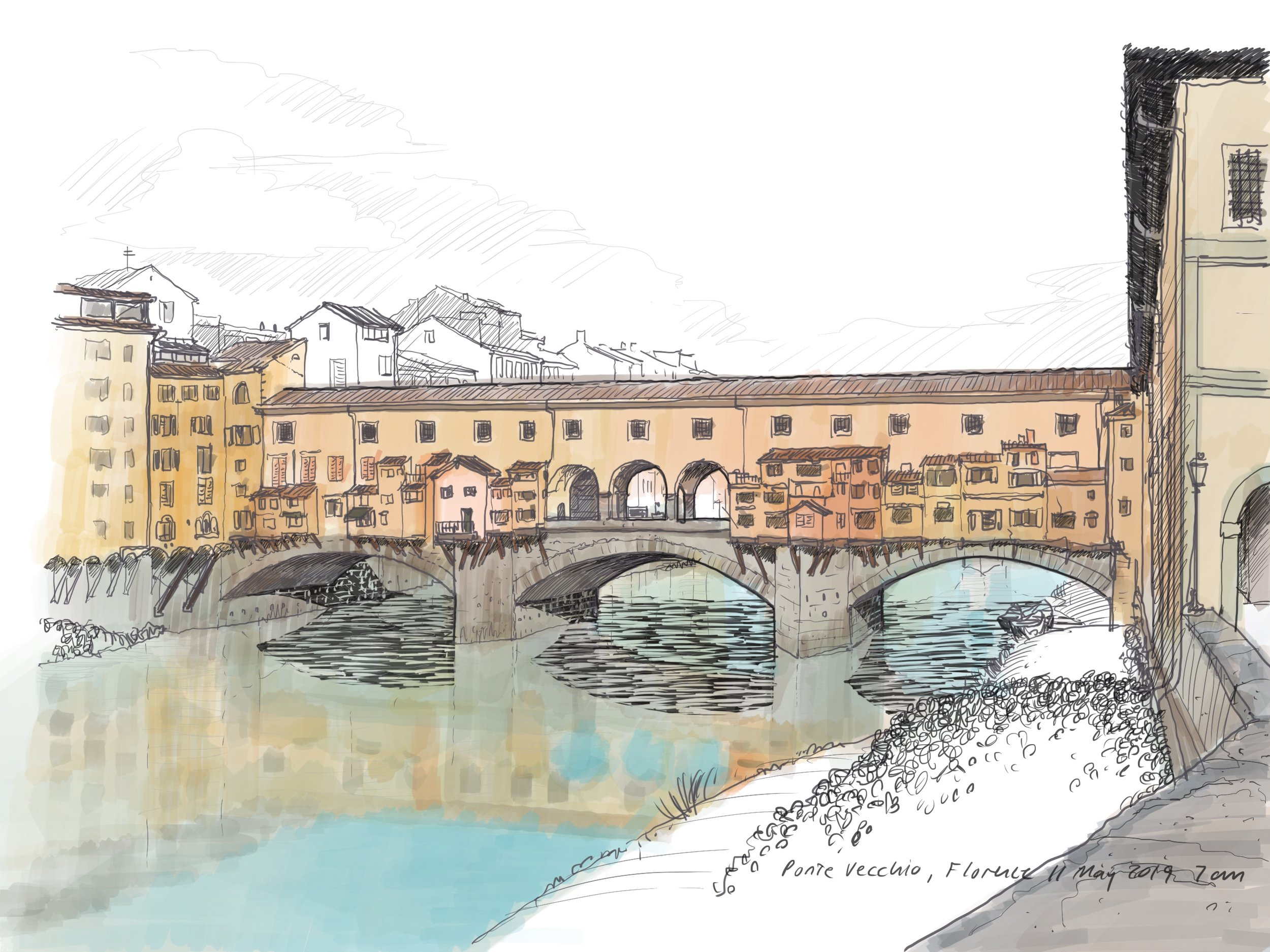 Ponte Vecchio, Florence.  Procreate software on an iPad Pro.
