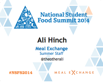 National Student Food Summit Name Tag