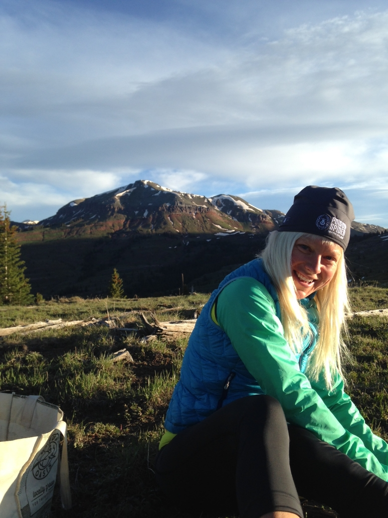 Having fun and staying warm while on site at a photo shoot for Pearl Izumi Running.    Little Molas Lake, Colorado Trail