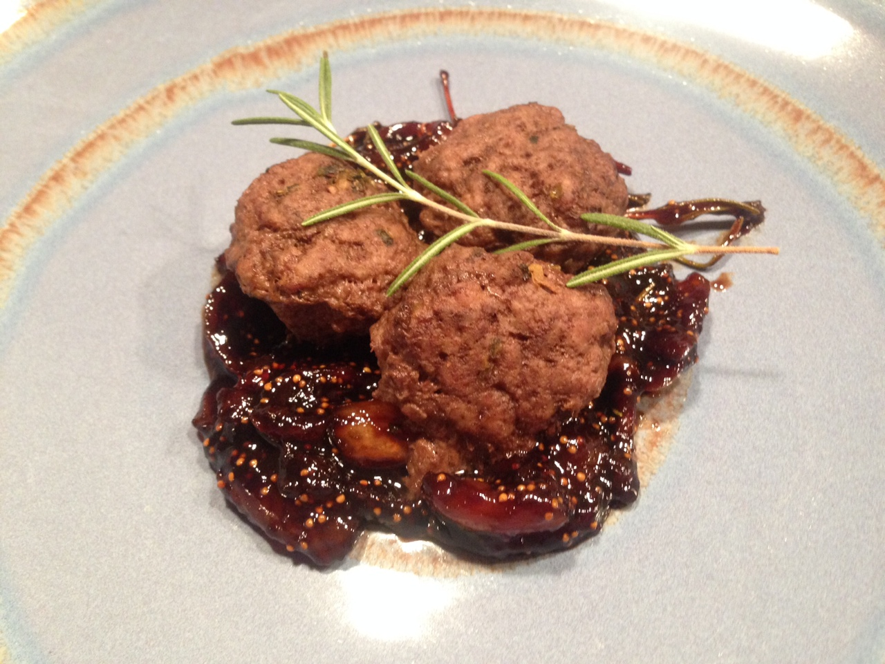 Lamb Meat Balls with Fig and Balsamic Reduction