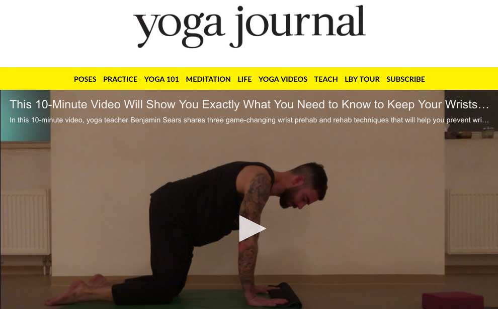 #YJINFLUENCER: A 10-MINUTE VIDEO TO PREP FOR PAIN-FREE WRISTS  FEATURE ON  YOGA JOURNAL   In this 10-minute video, yoga teacher Benjamin Sears shares three game-changing wrist prehab and rehab techniques that will keep your wrists healthy  and  help to heal any existing pain. In these exercises, you'll find concepts that can applied across many different postures and styles of yoga. Learn how to stretch and strengthen the muscles around your wrists so you protect this important joint when practicing weight bearing yoga poses. These exercises are scalable to any level of mobility, which makes them great to do before any practice that'll require you to put weight on your hands.