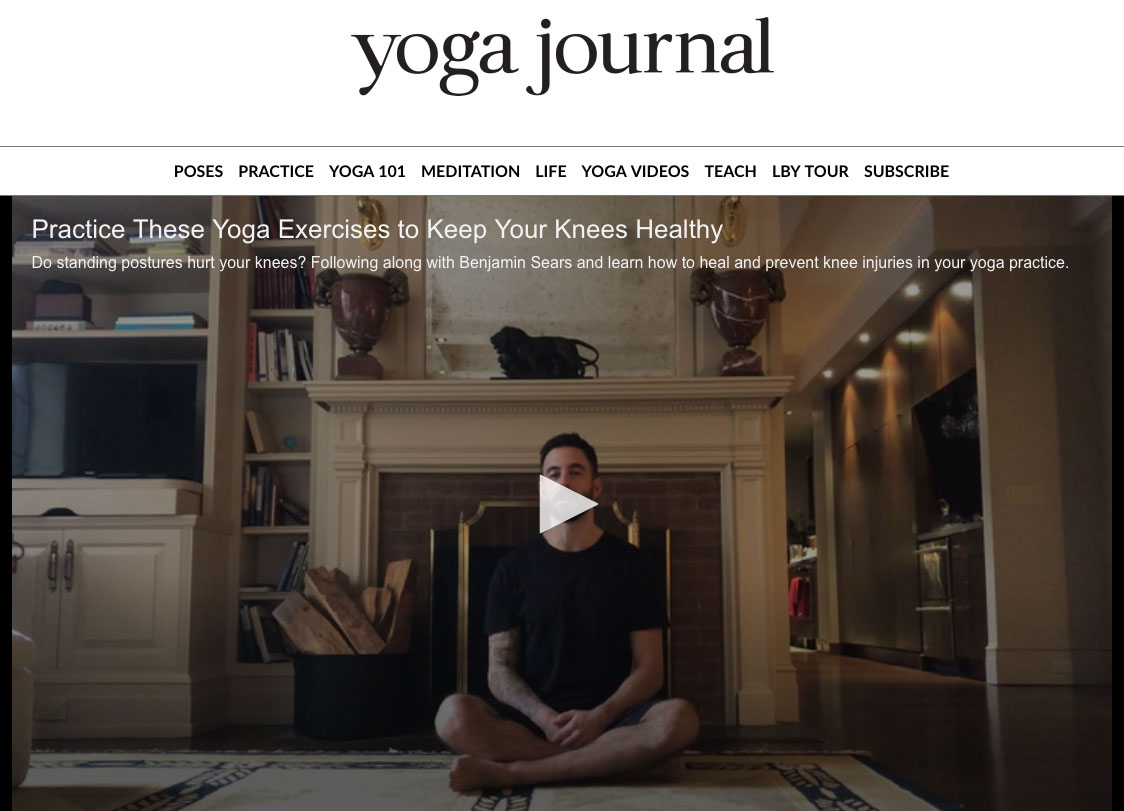 FEATURE ON  YOGA JOURNAL   If your yoga practice is putting pressure on your knees, we hear you. Follow along with Benjamin Sears, as he teaches simple, yet powerful exercises for a couple common issues around knees: lack of internal rotation, and weak or tight hamstrings. In addition, he addresses the importance of protecting your knees in standing Warrior postures.
