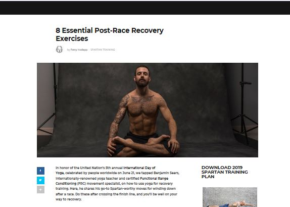 FEATURE ON  SPARTAN   In honor of the United Nation's 5th annual  International Day of Yoga , celebrated by people worldwide on June 21, Benjamin Sears illustrates how to use yoga for recovery training. Here, Benjamin shares his go-to Spartan-worthy moves for winding down after a race. Do these after crossing the finish line, and you'll be well on your way to recovery.