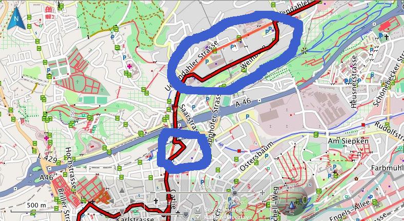 blau markiert: lustige Ideen des Garmin zur Auflockerung der Strecke / marked in blue: funny ideas of the Garmin to bring a bit of variety in the route