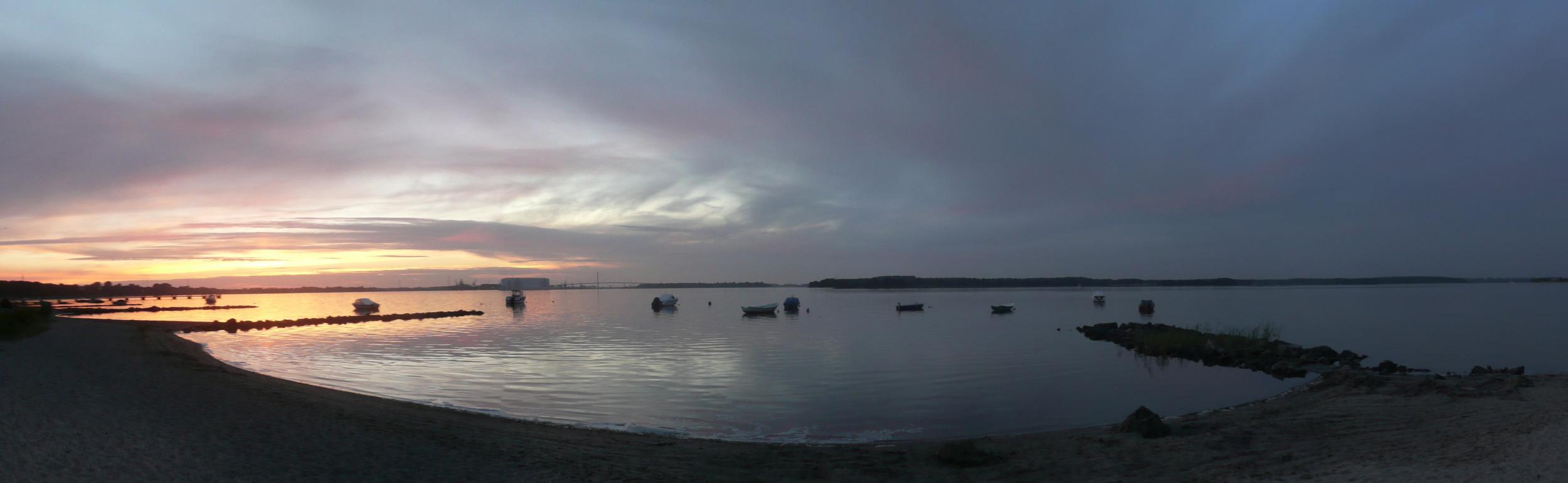 Sonnenuntergang mit Blick auf Stralsund