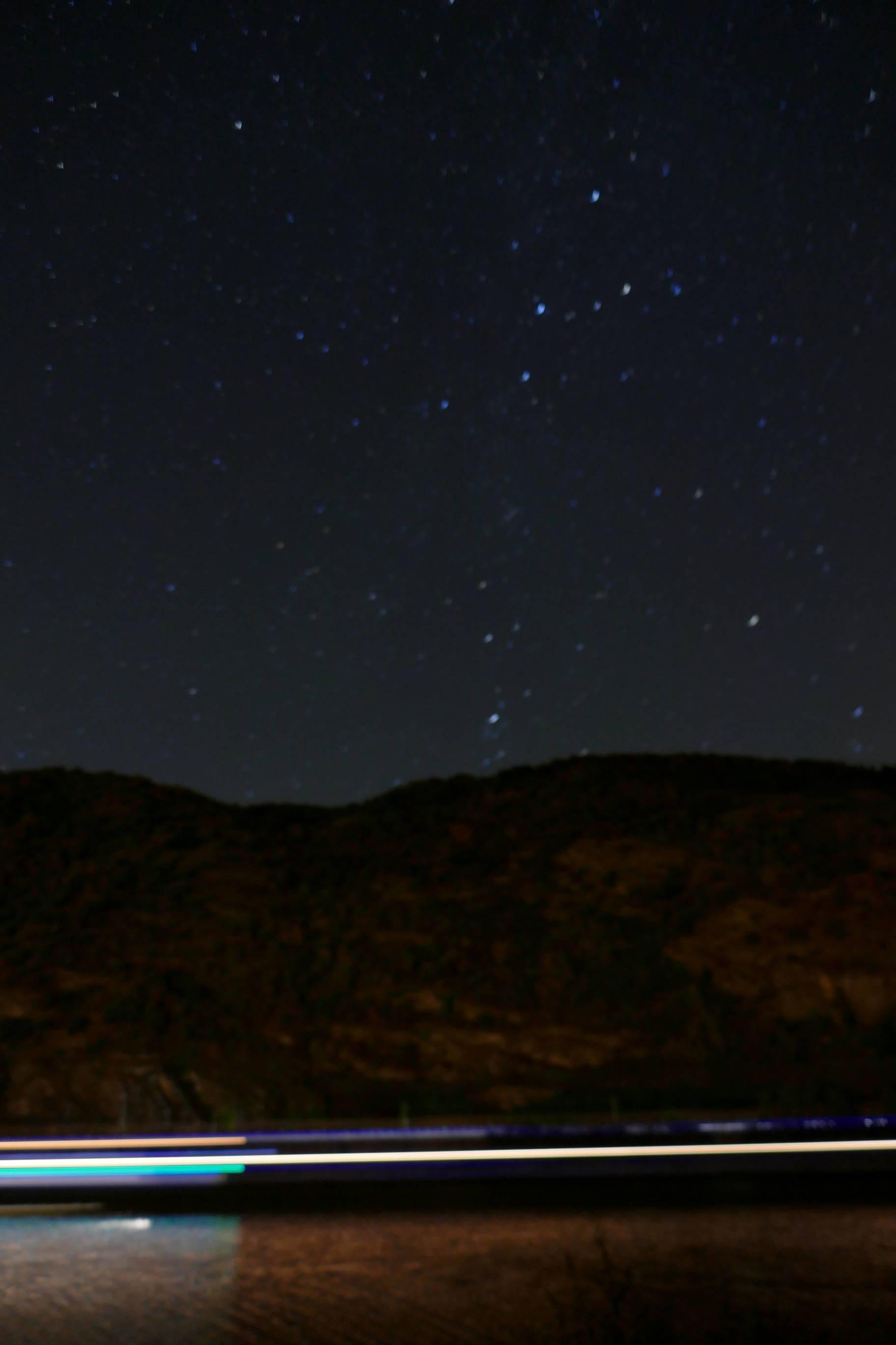 freie Sicht auf die Milchstraße - etwas verwackelt...