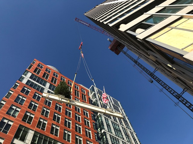 The last beam goes up at the Topping Off of the 88 Ames Street residential tower in Kendall Square.