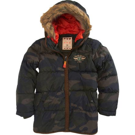 This  Scotch Shrunk Long Camo Puffer is sure to keep your Little Man Warm in the Extremest of Cold Temperatures with its Down Fill, Removable Lining at the Hood, and Rib Cuffs. He will know it is Super Cool & the Funnest Puffer out there--with its Ready to Assemble Logo Parachute- Wow... I even think that is Super Cool, and I also love the pop of Orange!