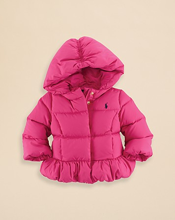 This Adorable  Ralph Lauren Puffer is sure too make your Princess stay warm with its Down Fill.I am showing the Pink Color but this Puffer also comes in  Navy -both colors are equally adorable.