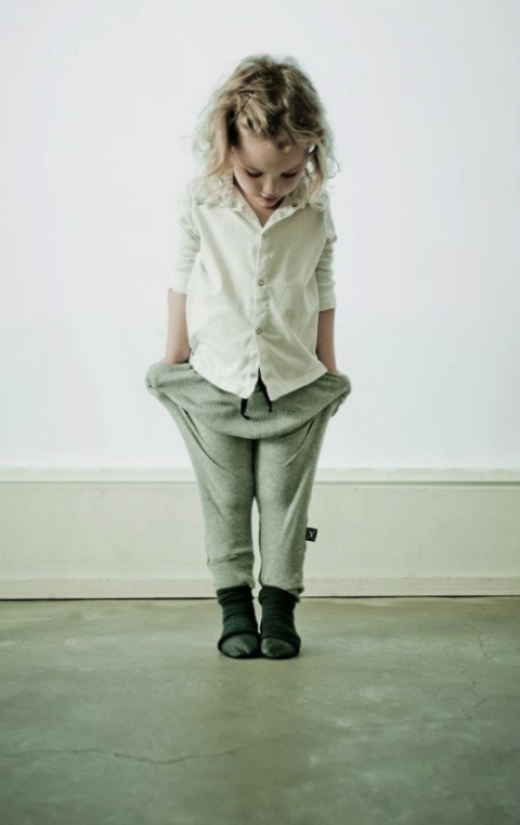 How Adorable does this Little Girl look in her Slouchy Sweatpants worn with a Classic Button Down Shirt and Classic Ballet Flats… this is a very Easy Way to Outfit these new Slouchy Sweatpants on your little one. These  Nununu Slouchy Sweatpants are a Cool yet Comfortable alternative to her usual leggings and are great for a boy too!.
