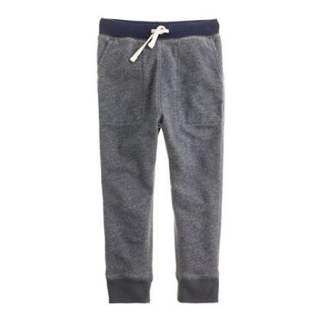 Leave it to  J.Crew to be the first America Mass Retailer to have a pair of Slouchy Sweatpants in their Kids Line (available online only)! These are a Cozy, Cool, Comfortable pair with just a slight slouch in the crotch and a slim leg… just like the ones I love to wear. These are Perfect, and I love the Darker Thunder Grey Color… They won't show dirt as much.Thank you J.Crew!