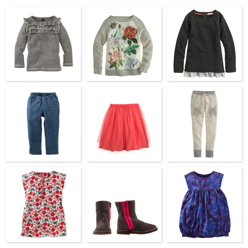 At  Tea Collection  &  J.Crew , for Girls knit tops are also essential and I love them with cute ruffle details and floral graphic prints, also essential are easy throw-on knit pants, and of course a Tutu! Starting a new season every girl also needs a casual play dress as well as a dress-up dress and a pair of shoes that go with everything...for spring this suede boot does the trick and is super cute with the pink pop zipper.   Tea Collection Ruffle Stripe Top  |  J.Crew Garden Floral Baseball Sweatshirt  |  J.Crew Ruffle Reglan Sweatshirt      Tea Collection Sparkle French Terry Pant  |  J.Crew Tippy-Toe Tulle Skirt  |  J.Crew Sparkle Fleece Pant    Tea Collection Butterfly Corduroy Dress  |  J.Crew Neon Zipper Chalet Boot  |  Tea Collection Bubble Party Dress