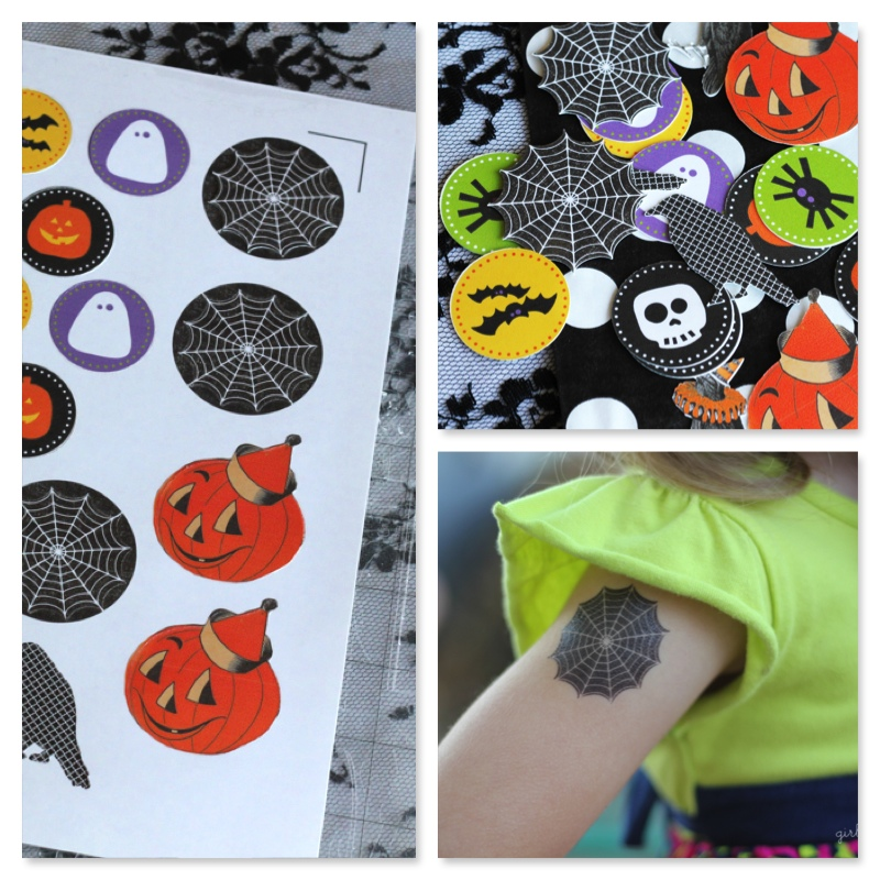 And of course you can always DIY your own Temporary Tattoos.  The Girl Inspired  made these DIY Temporary Tattoos for Halloween, and has Easy To Follow instructions on her Blog. You purchase Tattoo Paper and then create your layout using the Silhouette Software; the designs are only 99cents each and are print and cut. It sounds simple and they look Great! These Halloween ones would be so cute to hand out to trick-or-treaters as an alternative to candy!