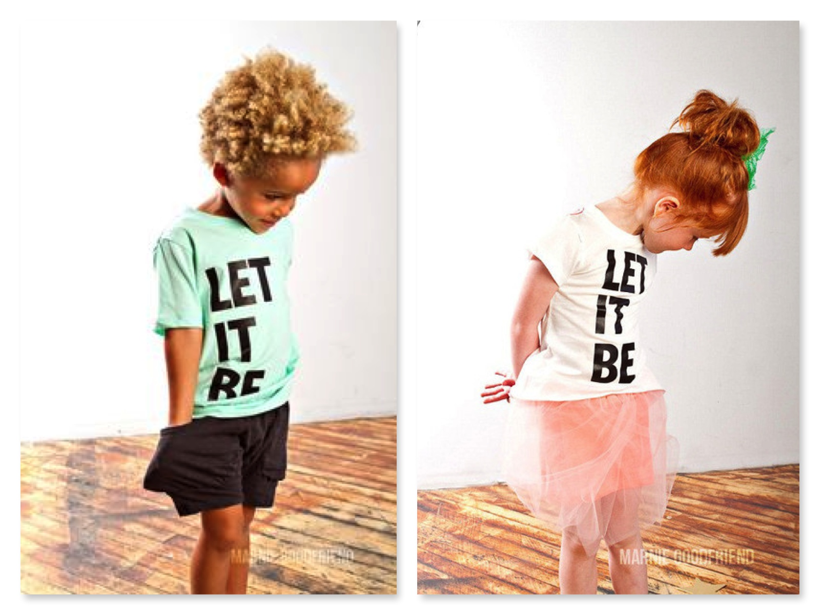 "Have your Little One Rock the Iconic Phrase ""Let It Be"" in this Statement Tee from  Joah Love .  Though the Boys Tee is just as Cool on a Boy or a Girl, Joah Love also has this Graphic on a Girls Tee Body, with a slight high, low, flowy-fit and neon pink graphic."