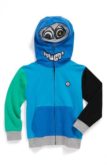 """This  Volcom """"Chargernized"""" Full Zip Hoodie zips up and over your Little Guys face to reveal a googgly-eyed character (mesh insets at the eyes and mouth allow him to see and breathe easily). Like the Mask Trend  (see my previous post) , this Hoodie lets his silly side go wild and allows him to express his personality with mystique and playfulness."""