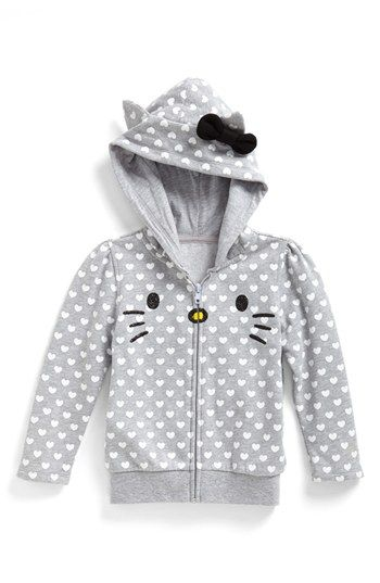 """This  Mighty Fine """"Hello Kitty Face"""" Hoodie has a cute Hello Kitty Face, a hood-top with Kitty Ears, and an all-over Heart Print (All-Over Prints is another trend in Hoodies I will be talking about soon). If your Little Sweetheart Loves Hello Kitty, she is sure to also Fall in Love with this Adorable Character Hoodie."""
