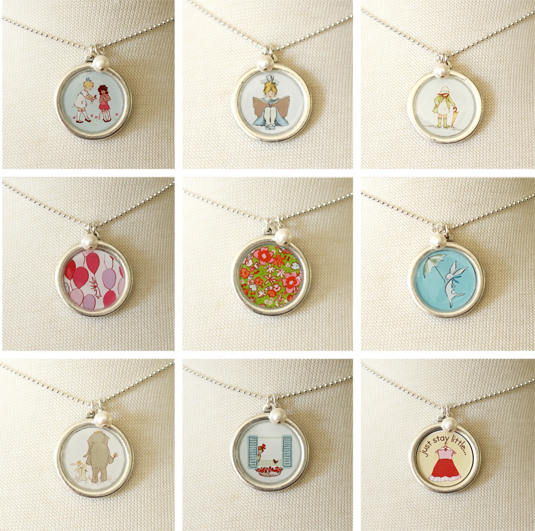 These Beautiful Necklaces by  Sarah Jane (an illustrator with a passion for illustrating childhood) are from her collaboration with Bel Kai.Sara Jane captures the interests of little girls in her illustrations; whether it be reading, balloons, bicycles, flowers, animals, or fashion there is something special here for your little one. These are absolutely beautiful and your Little Girl will want to wear this special necklace everyday!