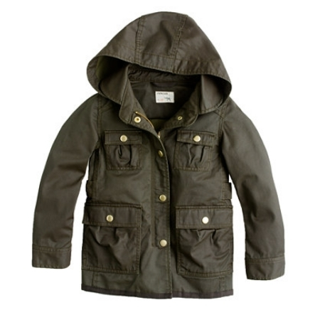 This J.Crew  Girls' Hooded Downtown Field Jacket is a sized down version of their best-selling women's jacket, just for little ones! It has all the same original military-inspired details as the women's jacket which includes gold snaps and a resin-coated canvas that is water resistant, making it perfect for Spring Showers!