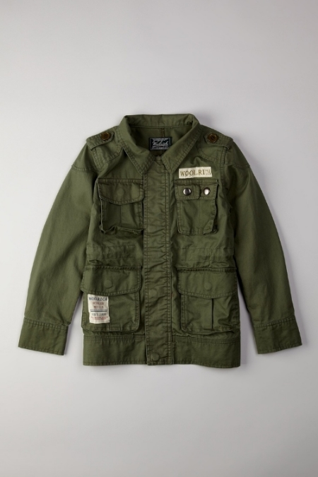This  Woolrich Summer Army Jacket  is the perfect jacket for your action packed little one. I love the Military inspired patches, epaulets, and metal snap details. This is a very Cool Authentic Army Jacket and I love it just as much for a Girl as for a Boy.
