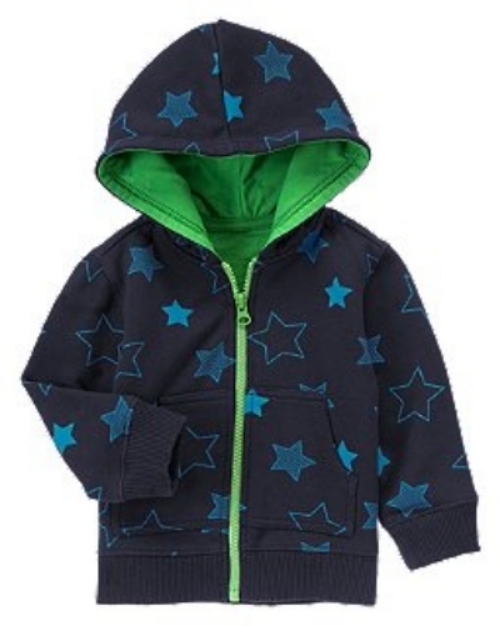 This  Star Fleece Hoodie  from Crazy8 is the one I may have to buy my son when he grows out of the Allover Star Printed Hoodie he currently has.It comes in comfy fleece with an extra bright green zipper and hood lining that I Love, and I also Love the price at only $11.99!