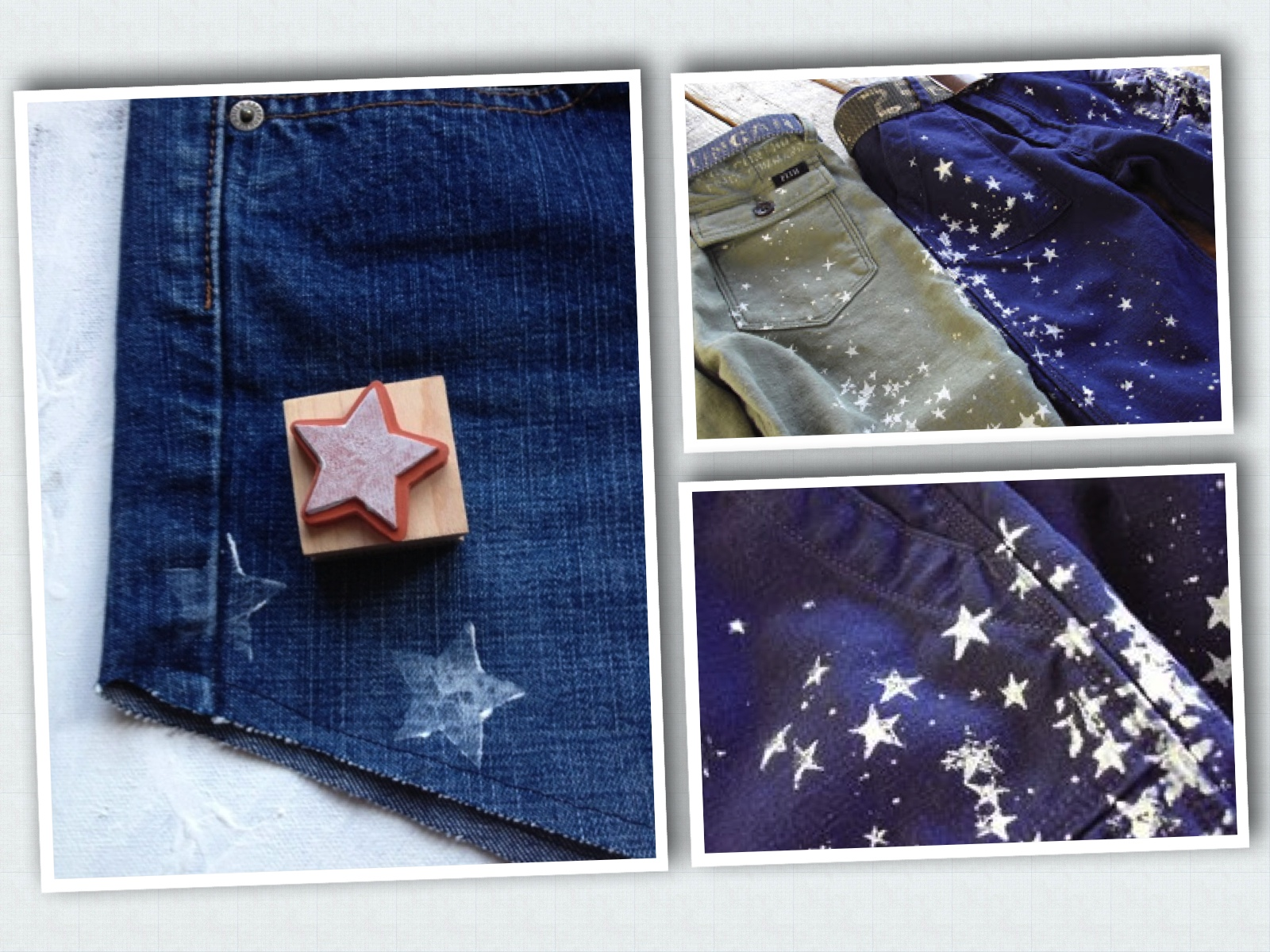 For DIY Allover Star Printed Denim,  La Vie en Rose  has a thorough tutorial for making your own Allover Star Printed Denim Shorts which include step by step directions with photos.Her first steps are for making cut-off shorts, you can skip those steps if you are making All Over Star Printed Jeans, Jacket, or Shift Dress. I also included 2 photos above which are placement inspiration for making your own Star Printed Jeans!