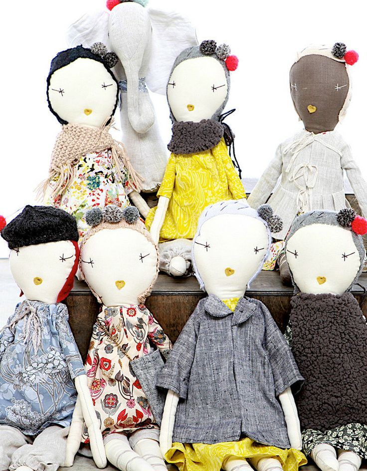 The  Jess Brown Rag Doll is dressed in linen solids, seasonal vintage or liberty prints plus one accessory.