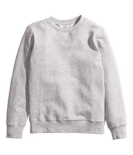 This  H&M Sweatshirt is a true Classic.It is a long sleeved crew neck sweatshirt with ribbed cuff and hems in a Classic Grey Heather color.There is also a toddler boy  H&M Sweatshirt in a dark Grey Heather color- which is good for little ones as it doesn't show dirt as much!