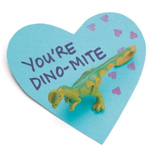 This  DINO-MITE  card shows, love is far from extinct.It is so easy to make, all you need to do is cut out a heart shape using card stock, write a message, and tack a small plastic dinosaur to the heart. There will be Big Love for this Valentine Card- from spoonful.com.
