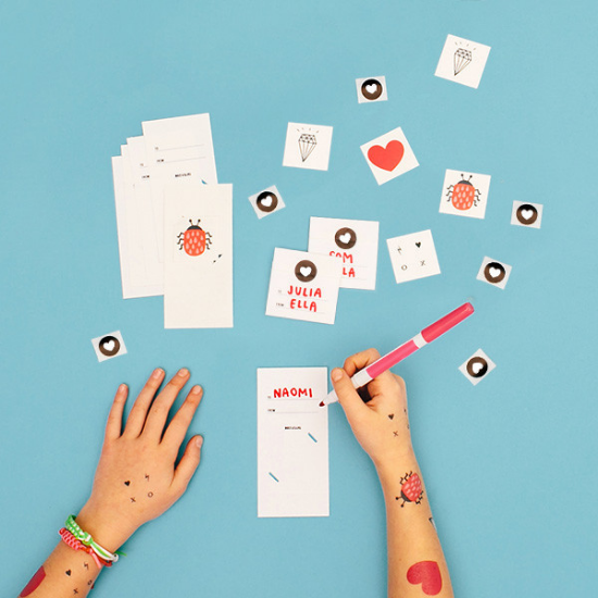 """A fun craft project for big and small!  Tattly Little Love Notes  include 8 die-cut note cards, 8 heart stickers, and 8 temporary tattoos.I Love Temporary Tattoos for kids, see my post  """"Temporary Tattoos"""" , where I have more options I love and a link on how to make your own Temporary Tattoos- which would be a cute easy DIY alternative to these Tattly Tattoos!"""