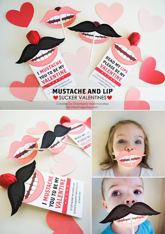 These  Mustache and Lip SuckerValentine  printables are so fun to create! My favorite Valentines have always been the humorous ones. These are also Free Printables! Enjoy and thank you I heart nap time, I heart these Valentines!