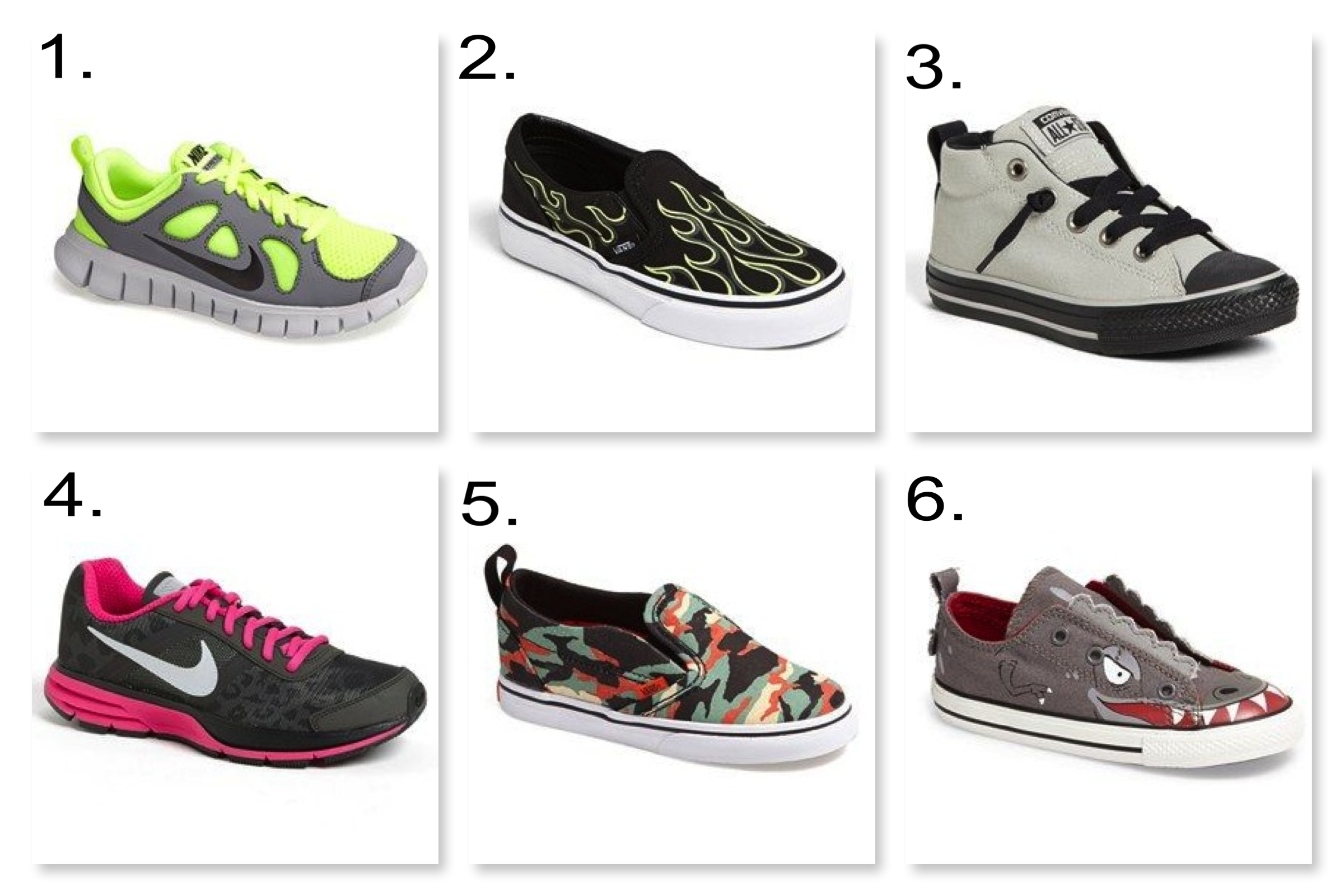 Nordstrom  is having a Shoe Clearance with up to 40% off Shoes.  1. Nike 'Free Run 5.0' Running Shoe |2. Vans Glow in the Dark Slip-On  | 3. Converse Chuck Taylor® All Star® 'Street' Sneaker  |4. Nike 'Air Pegasus+ 30 Shield' Running Shoe |5. Vans 'V' Camo Print Slip-On  | 6. Converse Chuck Taylor® All Star® Slip-On