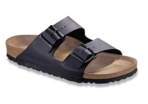 This  Birkenstock Arizona Two Strap Sandal  is the Classic Birkenstock I wore when I was in high school. I Love that the Birkenstock is Back in modern new upper colors like this smooth black, but still has the same rubber sole and shock-absorbing cork footbed to provide excellent support for growing feet!