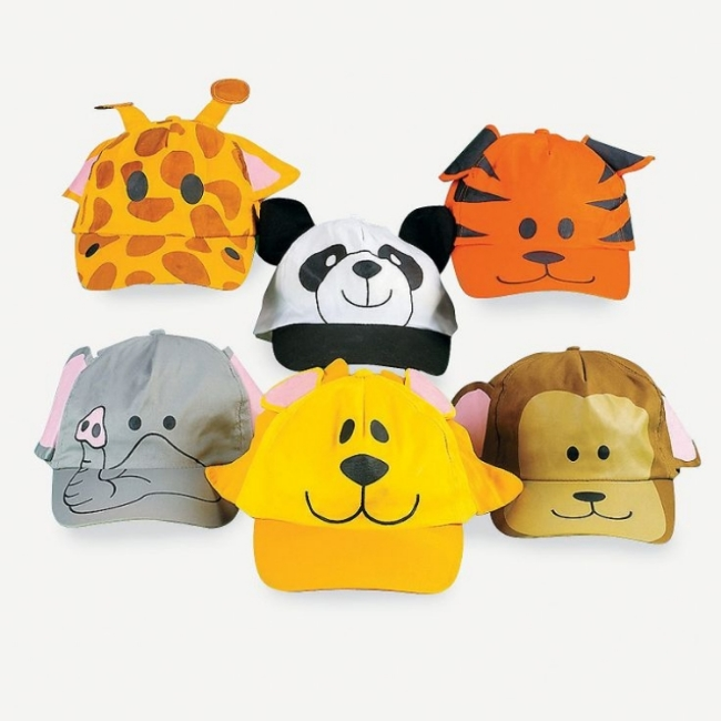 These  Zoo Animal Baseball Caps  from Oriental Trading add some wild jungle fun to your Little Ones outfit! These Baseball Caps are $21.00 for a dozen, and are perfect for a birthday party as favors... included are giraffe, panda bear, tiger, elephant, lion and monkey designs!