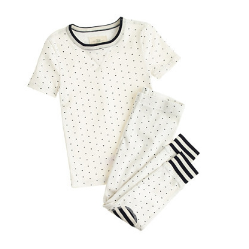 These  J.Crew GIRLS' SLEEP SET IN TINY HEARTS  are cute and cozy for sleeping soundly, and have lots of little hearts and a bold stripe collar and trim.