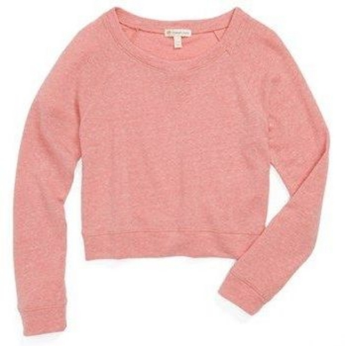 This  Tucker + Tate 'Kate' Crop Sweatshirt is a soft sweatshirt with comfy raglan sleeves, and is styled with a cute cropped cut.