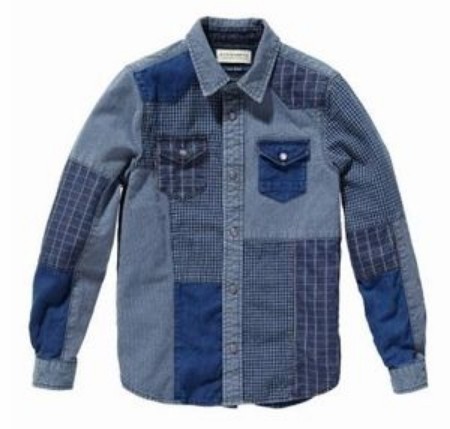This  Scotch & Soda Shrunk Lightweight Patchwork Denim Shirt is comfortable enough to wear on its own or layered over a t-shirt, he will love the top's versatility (though it is boys, I think it would be just as cute on a girl).