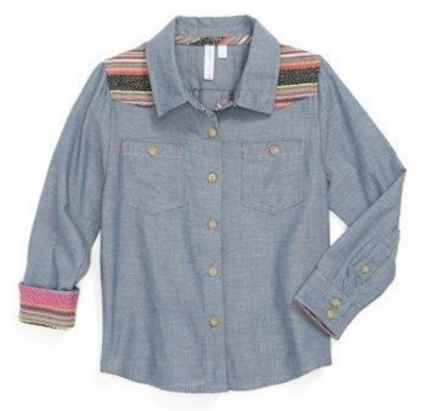 This  gingham by Sovereign Code Woven Chambray Shirt for girls has a multihued embroidered yoke which compliments the Western-inspired attitude.