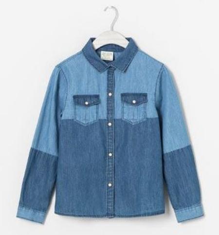 I Love this  Zara CONTRASTING DENIM SHIRT for girls with contrast denim color block details.