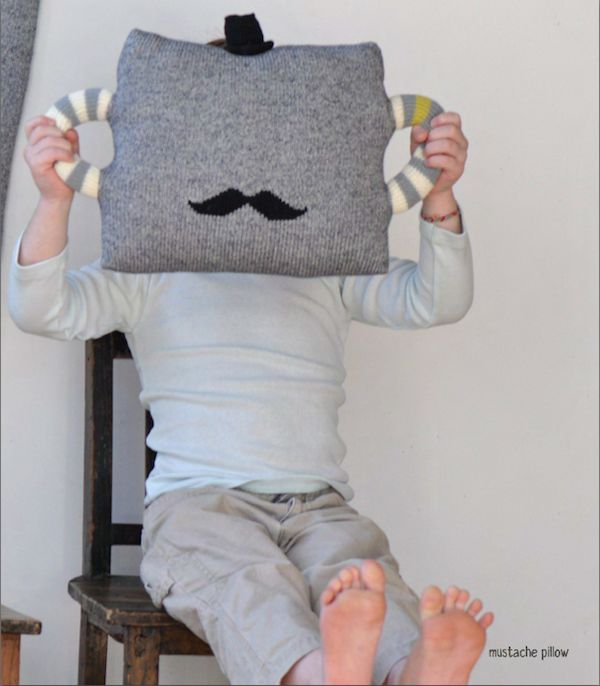 This  BlaBla Kids Hold Me Tight Mustache Pillow is the Pillow my son has & loves! It is hip and cute at the same time with little black top hat and mustache.