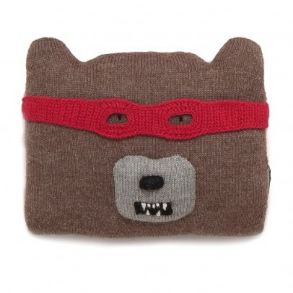 This  OEUF NYC bear Cushion is knitted from super soft Alpaca and has a cool removable mask that your little one can wear too- with their  Super Hero Pajamas  of course.