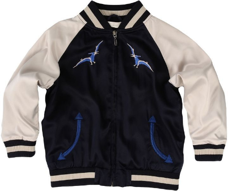 This unisex  Stella McCartney EASTWOOD BOMBER JACKET  has a dinosaur embroidery on the back and bird detail on the front with pointing arrow pockets.