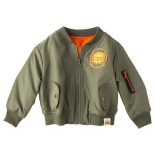 This  Harajuku Mini for Target® Jacket  has a cute lion patch on the chest and an orange pop color lining & sleeve zipper. This is the Bomber Jacket my son Mario has and it is adorable.