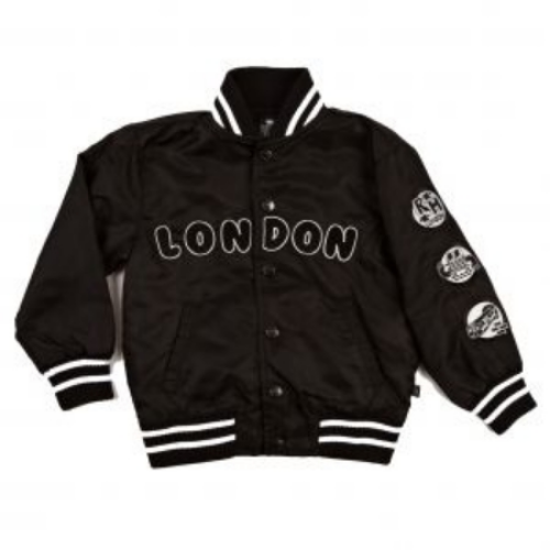 This  Ruff and Huddle London Bomber Jacket  has London appliqué across the front, 3 cool patches on the sleeve, and striped rib trim.